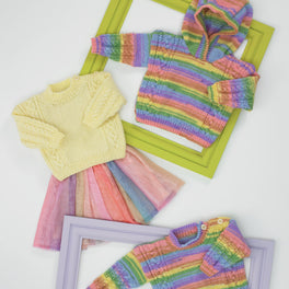 Sweater and Hooded Sweater in James C Brett Baby Twinkle Print DK JB684