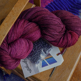 Leave These to Me Fingerless Mitts - Pack in Fyberspates Vivacious 4ply - Plum Imps