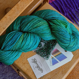 Leave These to Me Fingerless Mitts - Pack in Fyberspates Vivacious 4ply - Sea Green