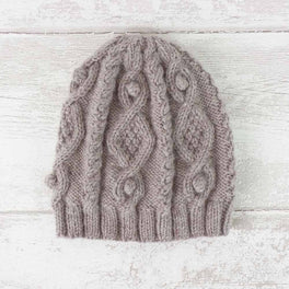 Diamond Cable Hat (Men) in Rowan Alpaca Soft DK - by Juliet Bernard