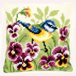Blue Tit on Pansies Cushion Front Kit