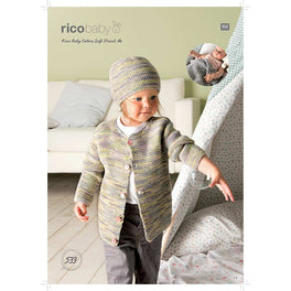 Babies Jacket, Hat and Blanket knitted in Rico Baby Cotton Soft DK (533) - Digital Version