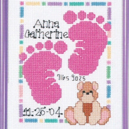 Baby Footprints Birth Announcement Sampler