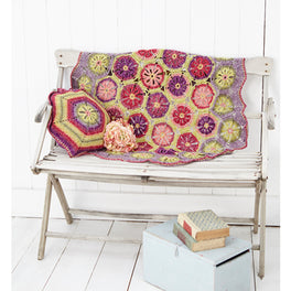 Hexagon Flower blanket and Cushion Cover in Stylecraft Batik DK
