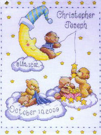 Heavenly Bears Birth Sampler