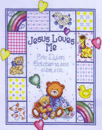 Jesus Loves Me Birth Sampler