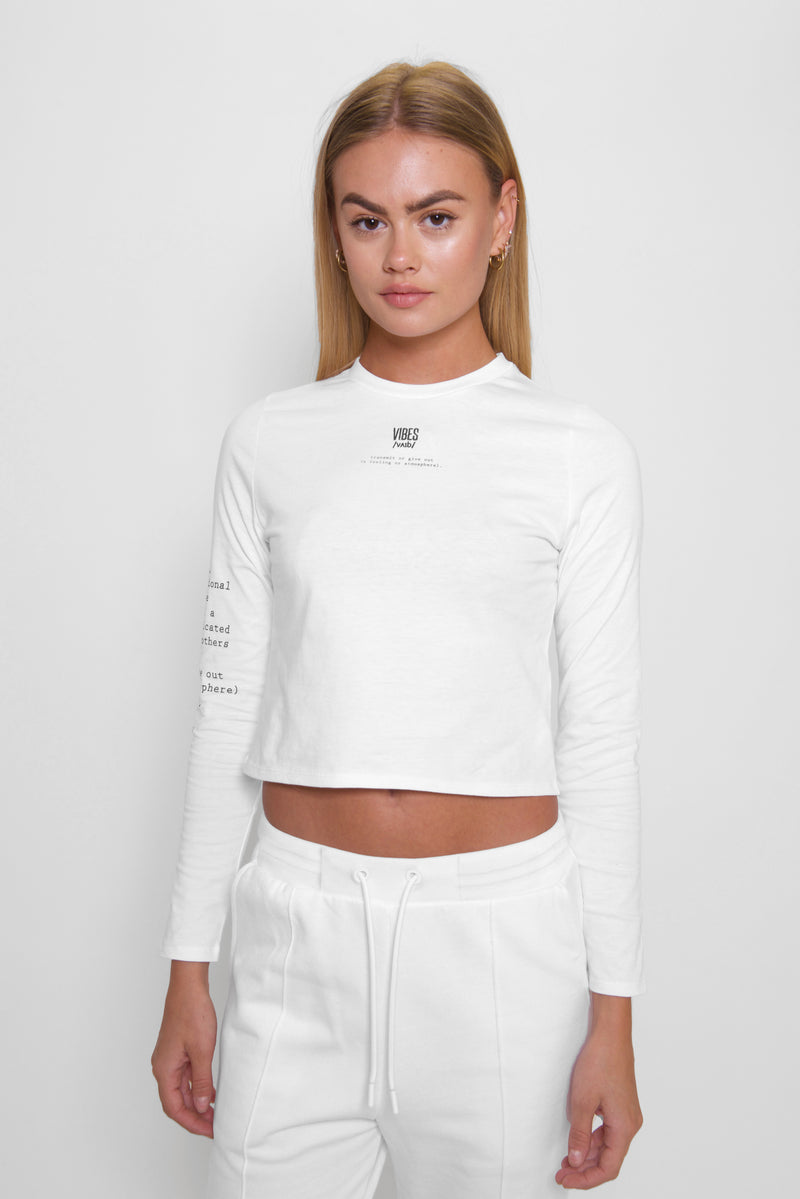 White 'Definition' Long Sleeve Tee