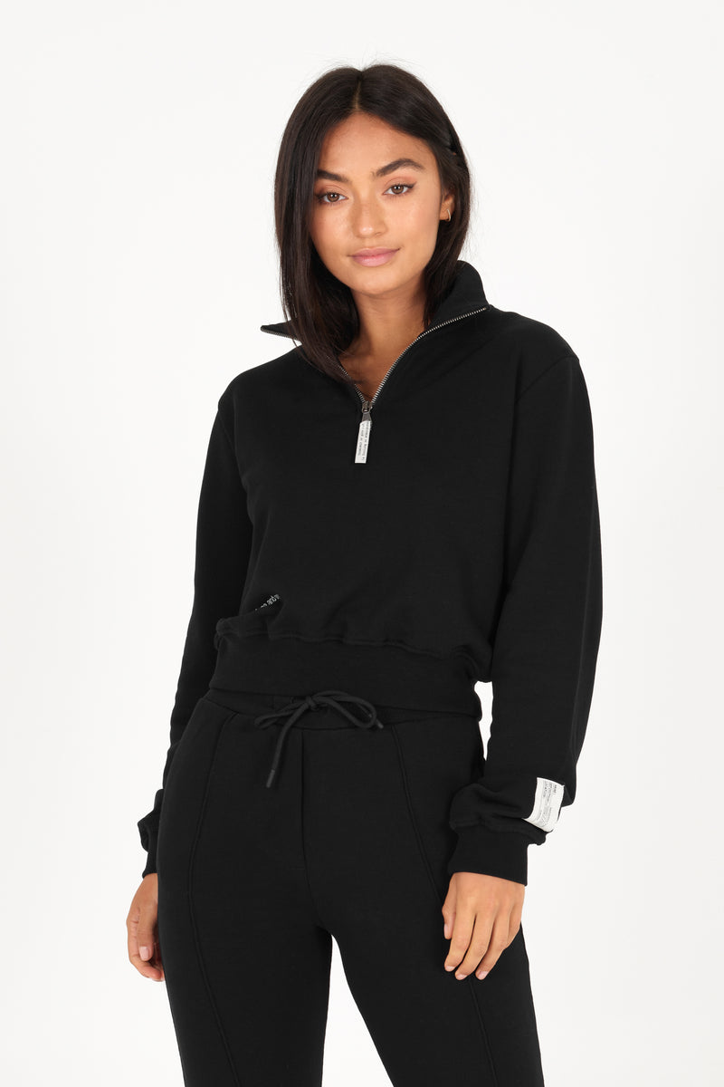 Black Organic Quarter Zip