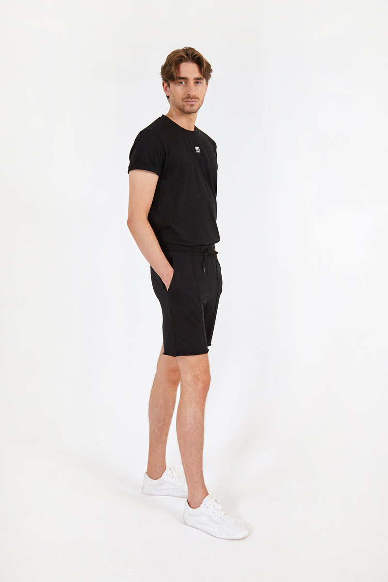 Black Raw-Hem Lounge Shorts