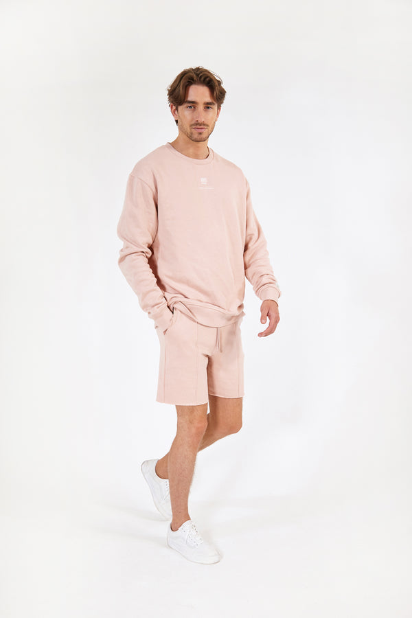 Pastel Rose Raw-Hem Lounge Shorts