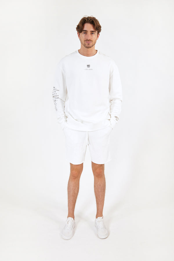 White Raw-Hem Lounge Shorts