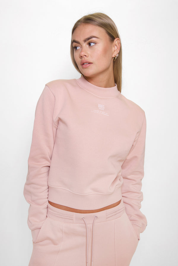 Pastel Rose Relaxed Cropped Sweatshirt