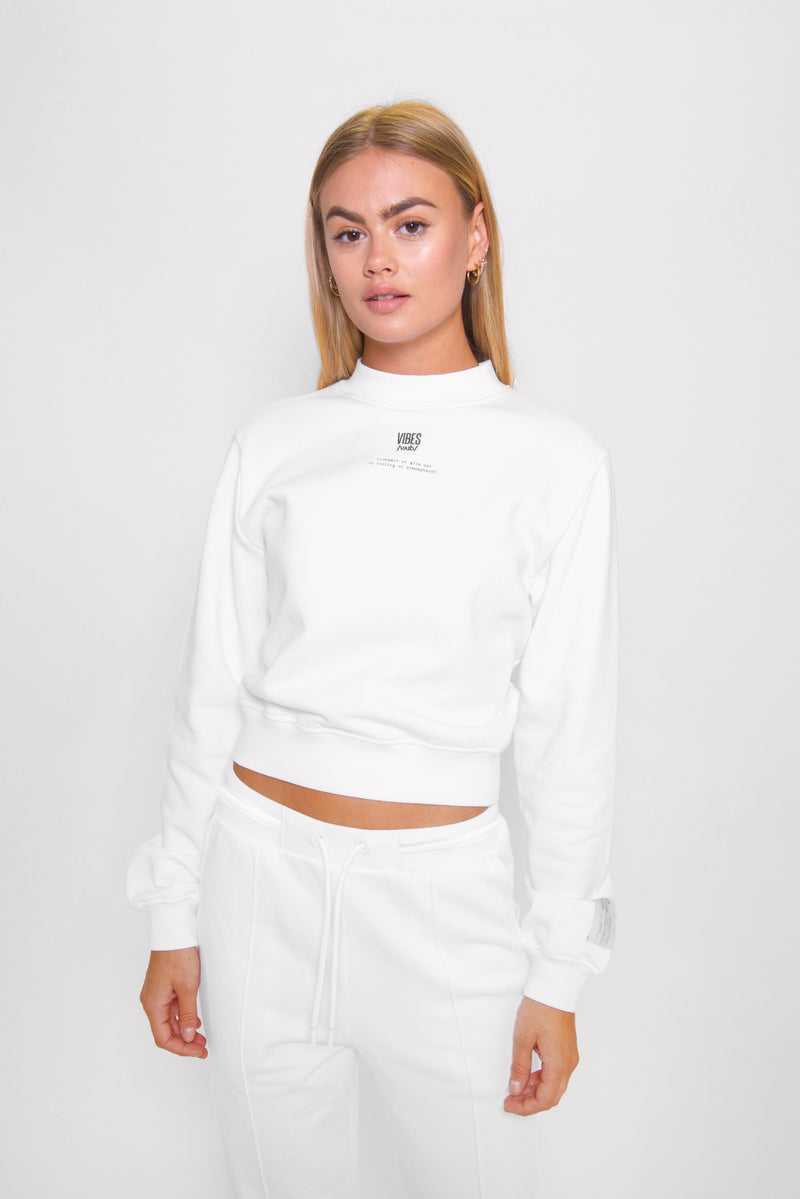 White Relaxed Cropped Sweatshirt