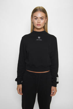 Black Relaxed Cropped Sweatshirt