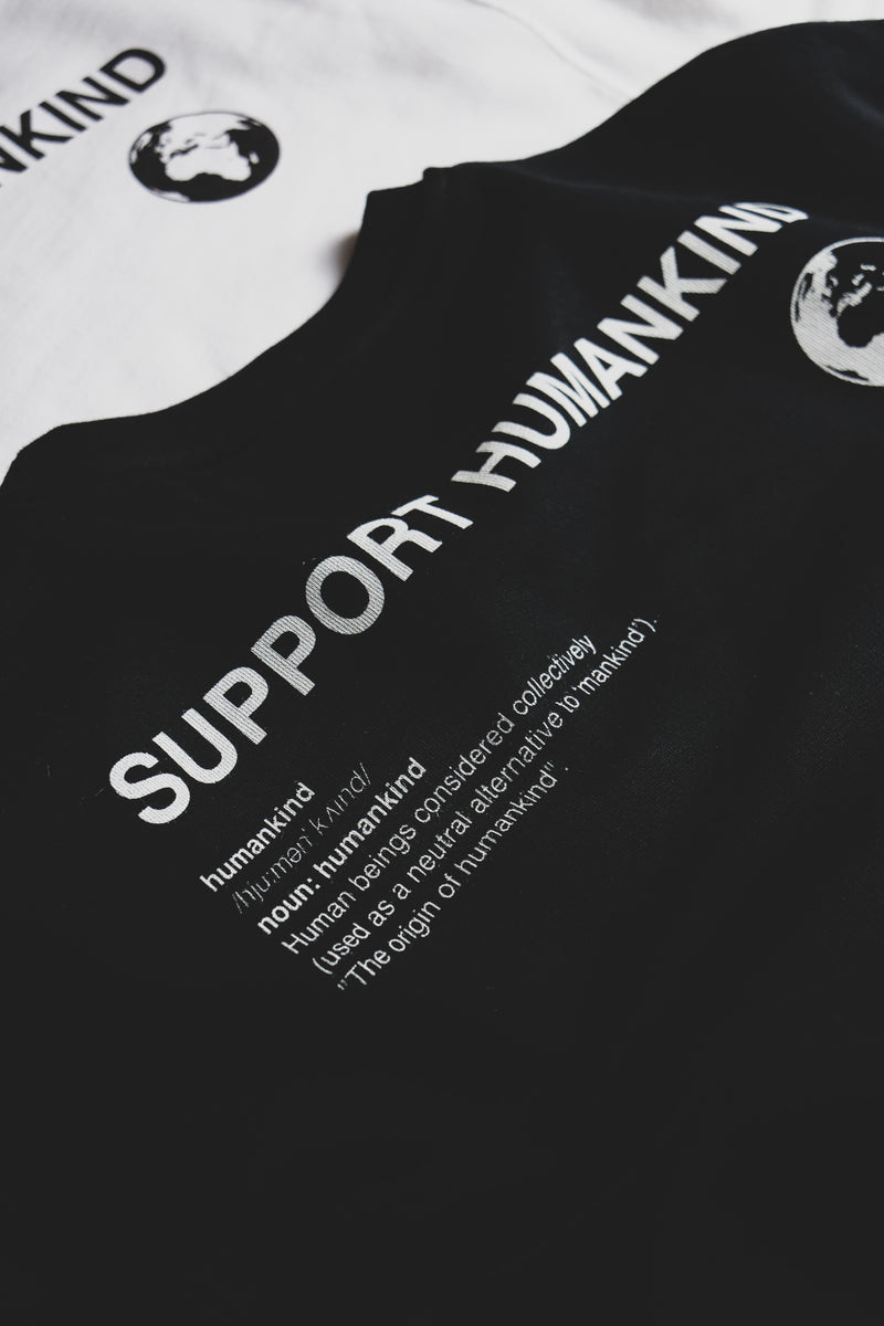SUPPORT HUMANKIND BLACK CROPPED SWEATSHIRT