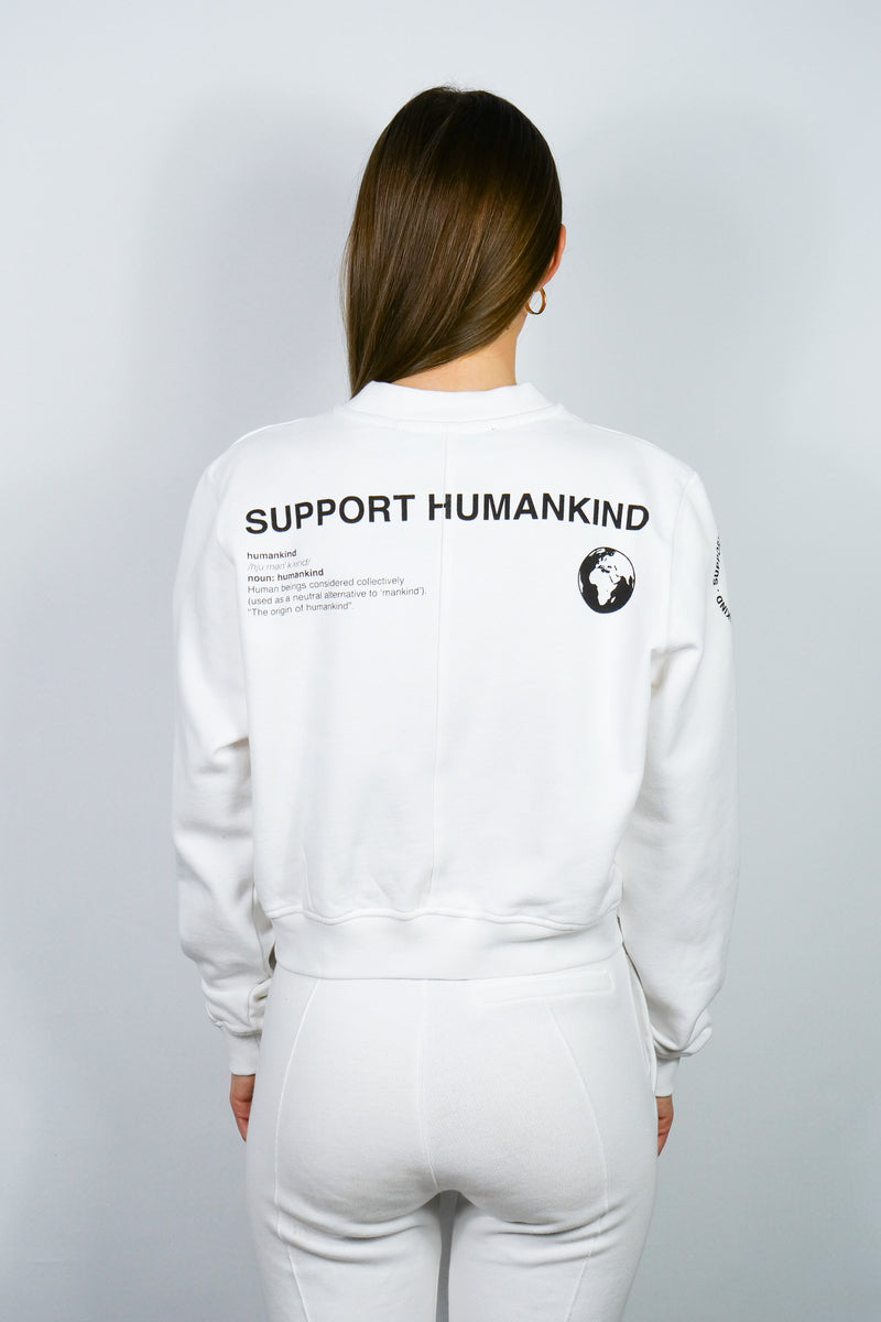 SUPPORT HUMANKIND WHITE CROPPED SWEATSHIRT