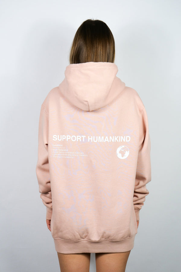SUPPORT HUMANKIND PASTEL ROSE HOODIE