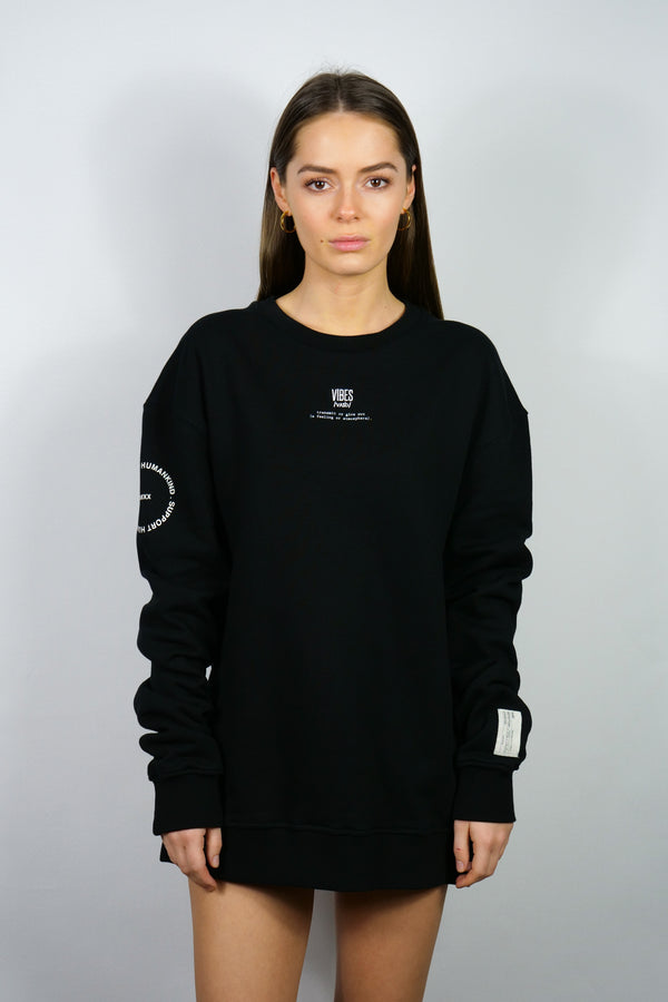SUPPORT HUMANKIND BLACK SWEATSHIRT