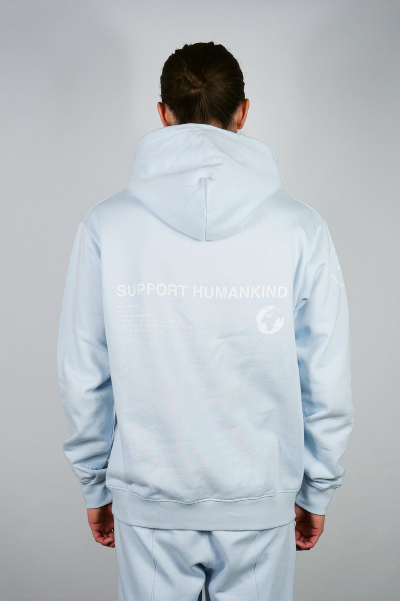 SUPPORT HUMANKIND PASTEL BLUE HOODIE