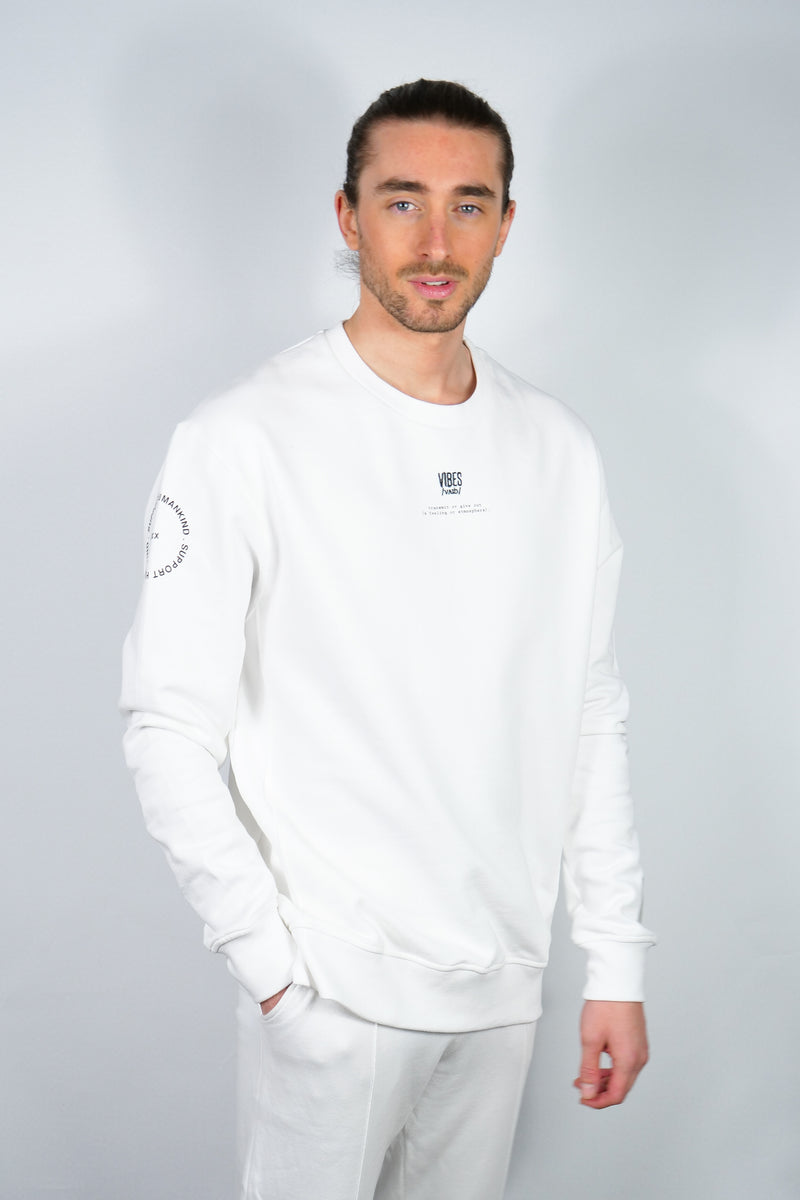 SUPPORT HUMANKIND WHITE SWEATSHIRT