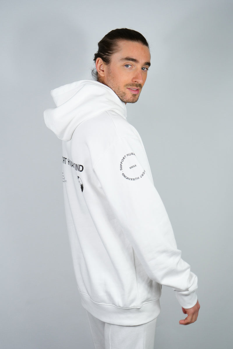 SUPPORT HUMANKIND WHITE HOODIE
