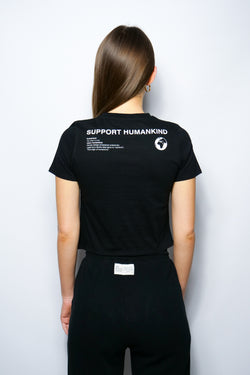 SUPPORT HUMANKIND BLACK FITTED TEE