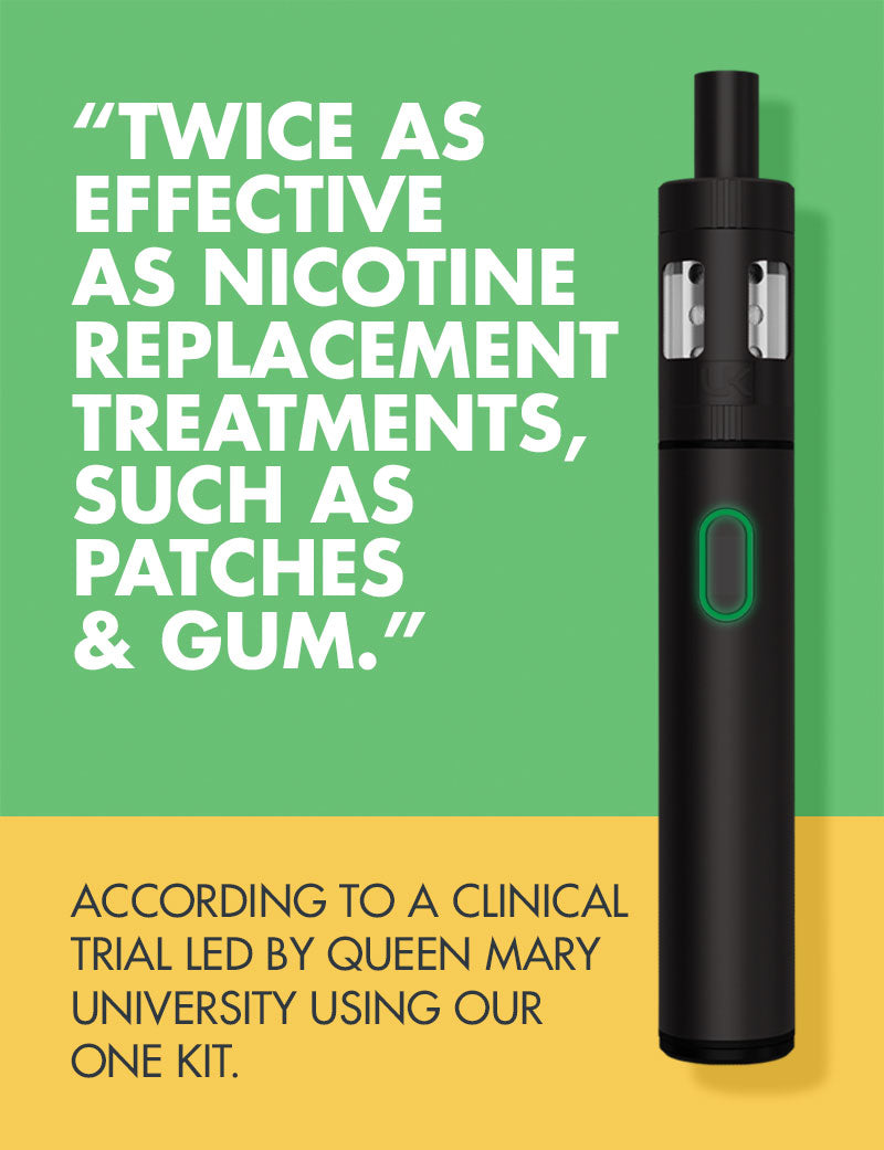 Using a e-cigarette is twice as effective when giving up smoking than NRT.