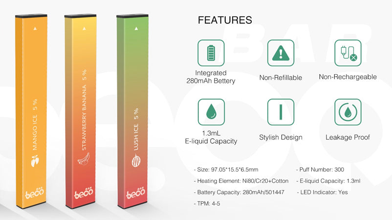 Vaptio Beco Bar - Product Features