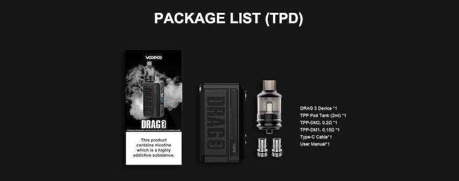 Whats included in the Voopoo Drag 3 Vape Kit box