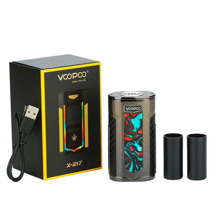 VooPoo & Woody Vape X217 TC Box Mod - Package and contents