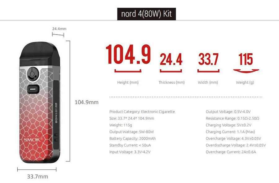 Smok Nord 4 Vape Kit   Armour Edition Specifications