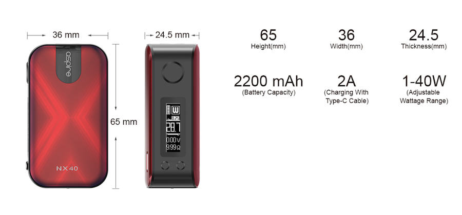 Aspire NX40 Mod | Specifications