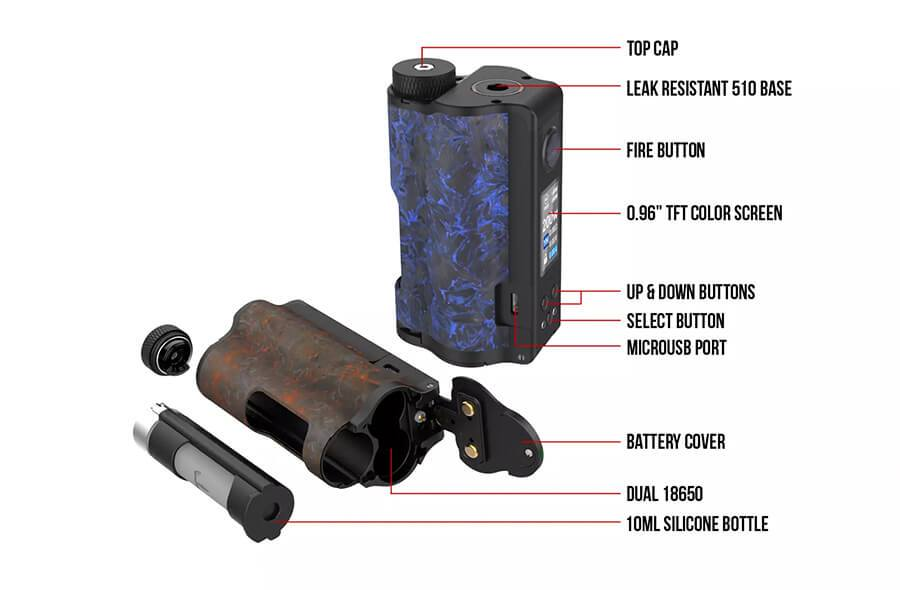 Dovpo - Topside Dual Carbon - Dual 18650 Regulated Box Mod Features
