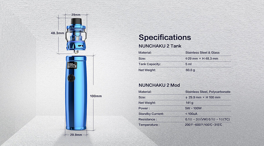 Uwell Nunchaku 2 Vape Kit Specifications