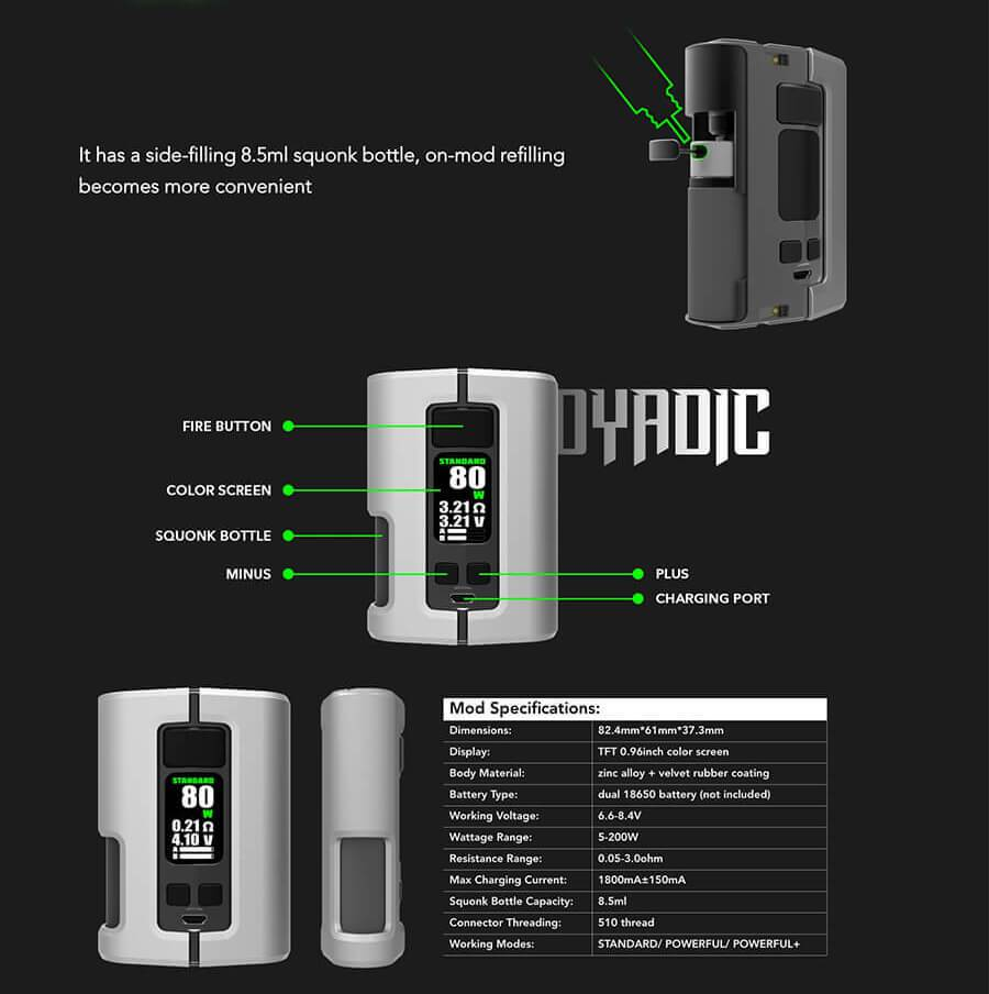 Wotofo Dyadic Squonk Mod - Specifications