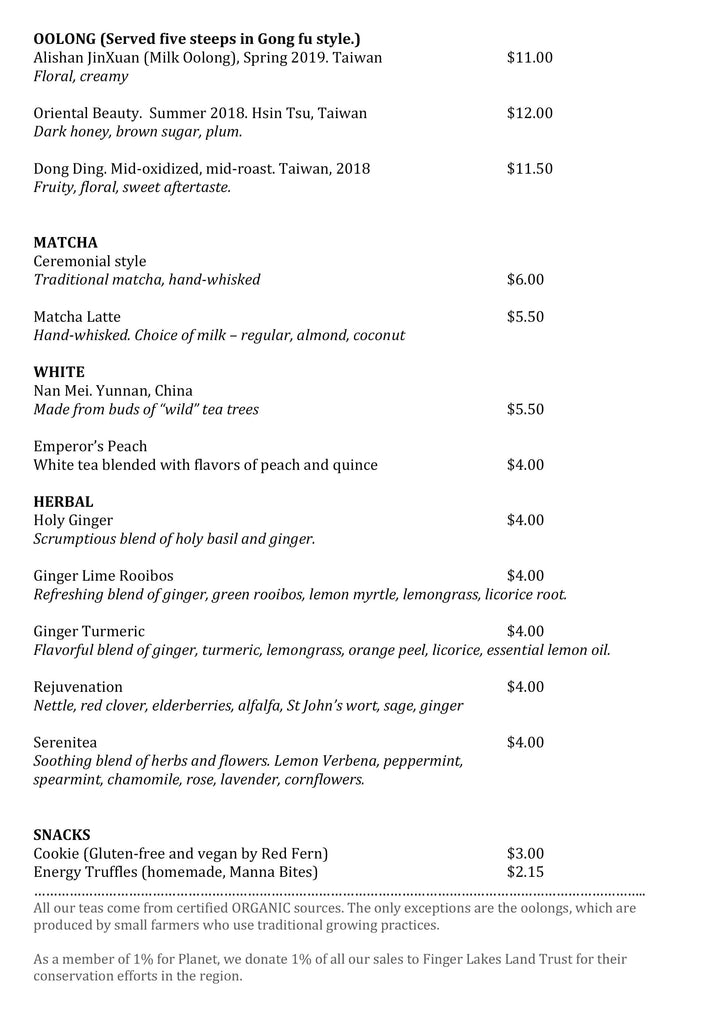 Leaf Tea Bar Menu 2