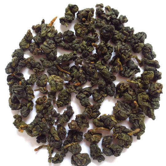 Hung Shui Oolong. The roasts dulls the appearance of the leaf.
