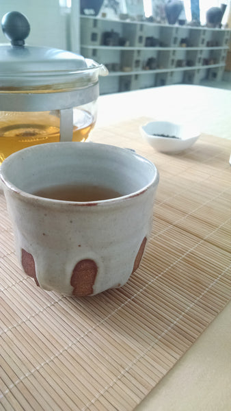 A cup made right here in our Tea Studio by Cody Kroll of Kumagama.
