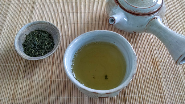 Sencha Miyazaki prepared in the teaware made by our partner Kumagama Clay Studio.