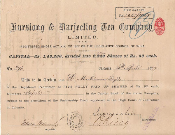 A share certificate dated 1897 of Kursiong & Darjeeling Tea Company, the first tea company of Darjeeling.