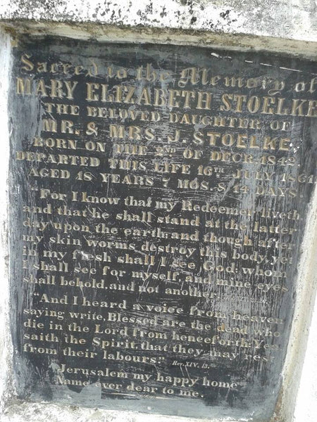 "Epitaph of Mary Stoelke, daughter of Joachim and Doroethea Stolke who died in 1861, at the Darjeeling cemetery. This picture I found in Facebook group ""Darjeeling Yesteryears"". Since the apperance of this picture I have for this piece revised the spelling on the name Stolke to Stoelke."