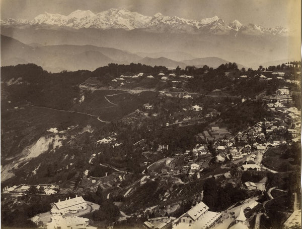 A view of Darjeeling town with Mt Kanchenjunga in the background. Circa 1880s.