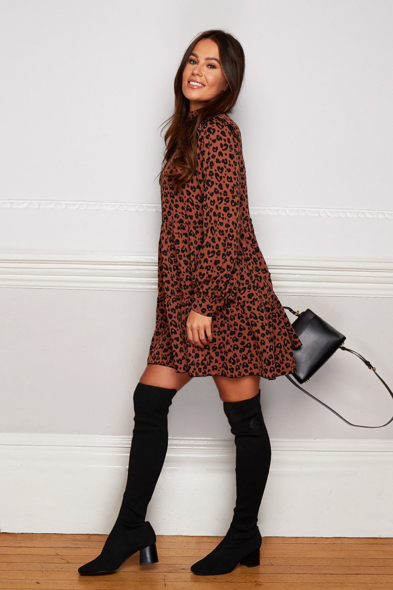 Hattie Frill Shoulder Dress Brown Animal
