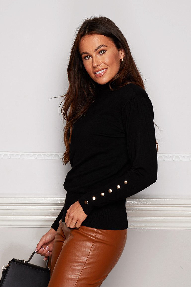 Jacklyn Padded Shoulder Button Detail Roll Neck Jumper (Black)