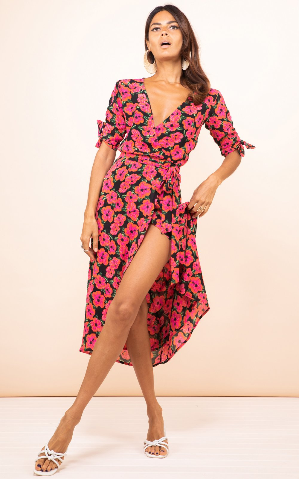 Olivera Midi Dress Hibiscus Pink On Black Dancing Leopard
