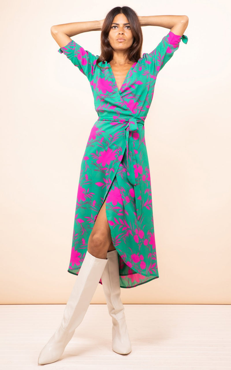 Olivera Midi Dress Silhouette Pink on Green Dancing Leopard