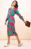 Sabina Midi Dress Pink On Green Tulip Dancing Leopard