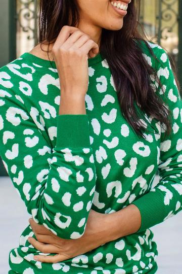 Callie Jumper - Green, Jungle Leopard