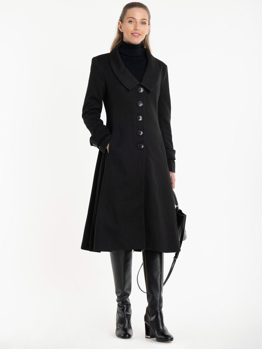 Retro Collar Fit and Flare Coat