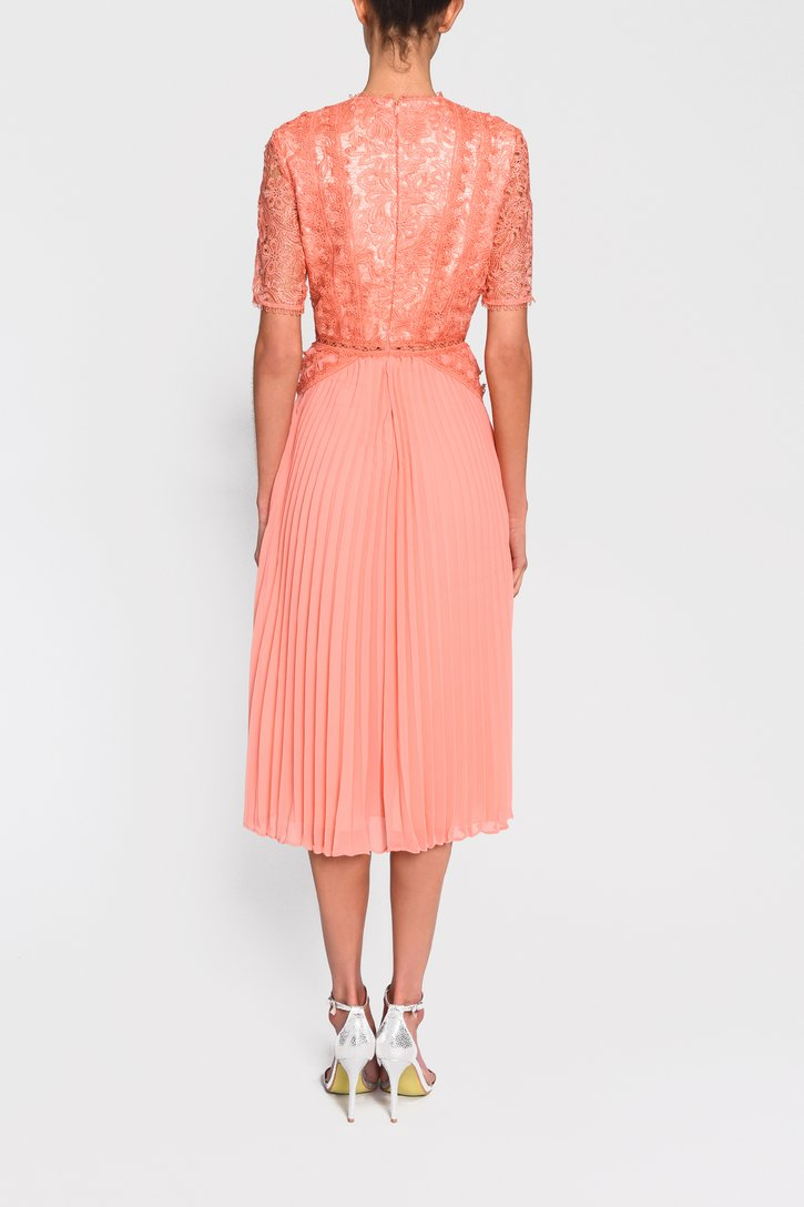 Peach Lace Pleated Skater Style Dress